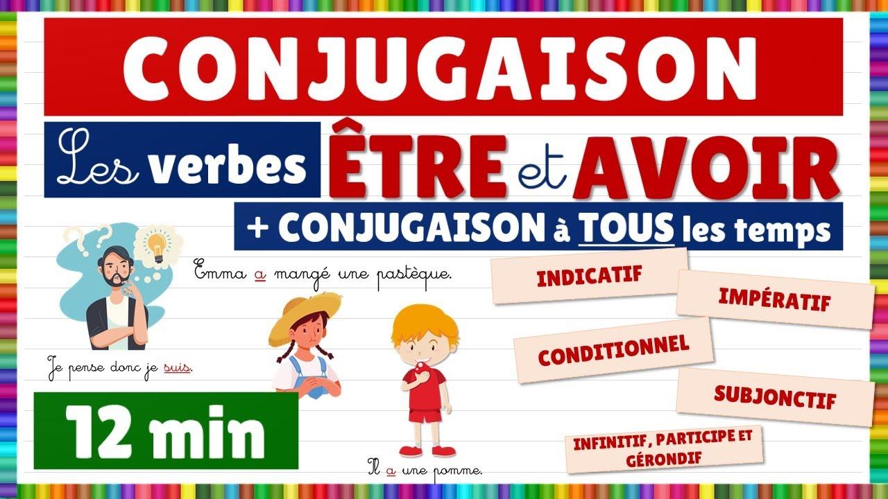 Conjugaison Les Verbes Etre Et Avoir Leur Conjugaison A Tous Les Temps Youtube