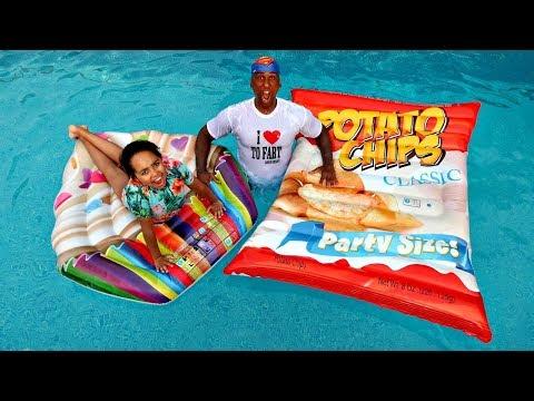 Giant Potato Chips VS Giant Cupcake Swimming Pool Challenge