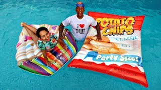 Giant Potato Chips VS Giant Cupcake Swimming Pool Challenge