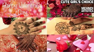 Learn 5 Valentines Day Special Mehndi Design For Girls | Time-Lapse Cute & Easy Love Mehendi 2018