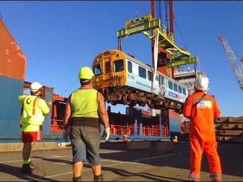 TRAINVID: 34 former Tranz Metro, Wellington, EM/ET trains being loaded onto a ship for Africa.