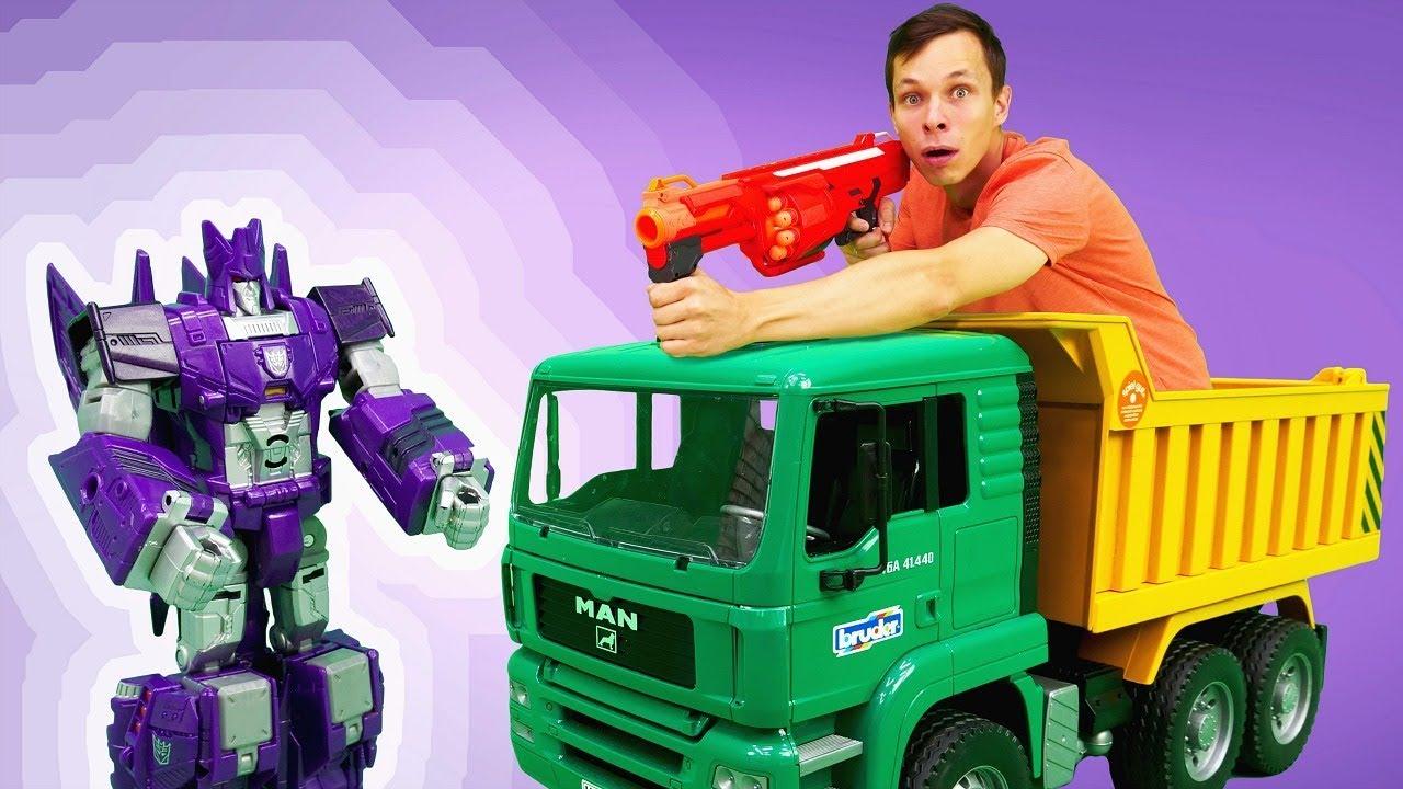 Игры гонки Фёдора и Десептиконов! Видео с машинками и Трансформерами.