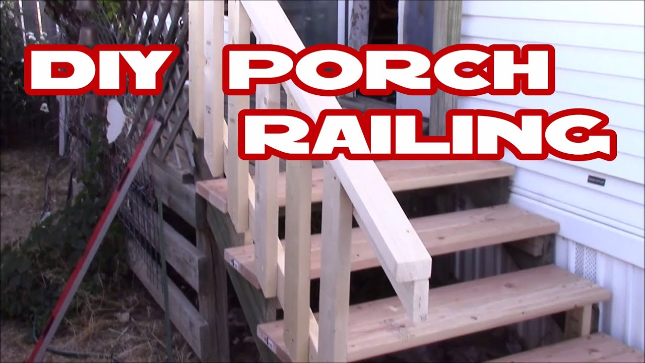 How To Make Deck Porch Railing Easy With Just 2X4 S Diy Home | Diy Handrails For Outdoor Steps | Easy | External Step | Metal | Entrance | Diy Stone