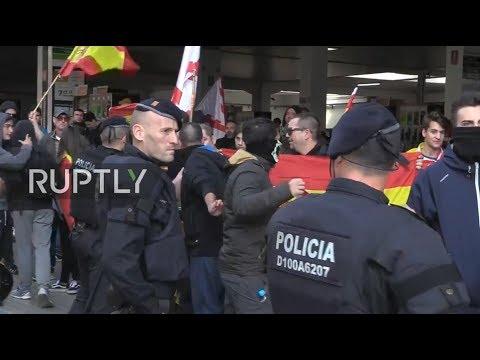 Marchas antifascista y a favor de la unidad de España en Barcelona