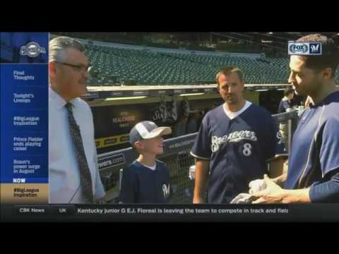 Brewers' Braun surprises young fan before game