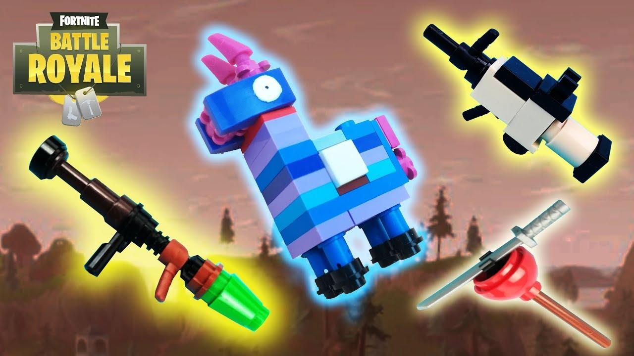 lego fortnite rocket launcher scar plunja and llama - lego fortnite loot llama