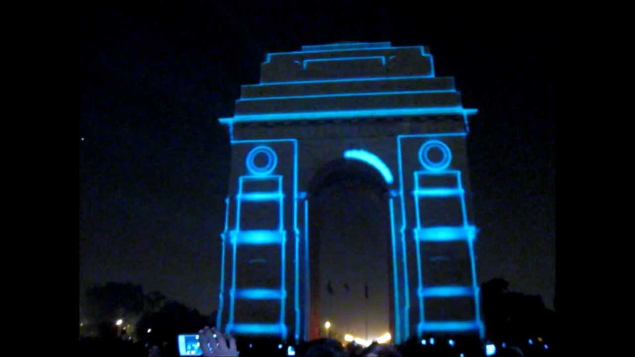 3D mapping on INDIA GATE   YouTube