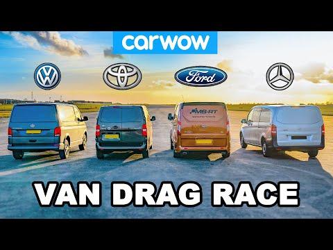 VW Transporter V Ford Transit V Toyota Proace V Mercedes Vito - VAN DRAG RACE!