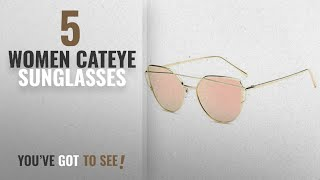 Top 10 Women Cateye Sunglasses [2018]: U.S. CROWN Women Cat-Eye Mirror Sunglasses with case