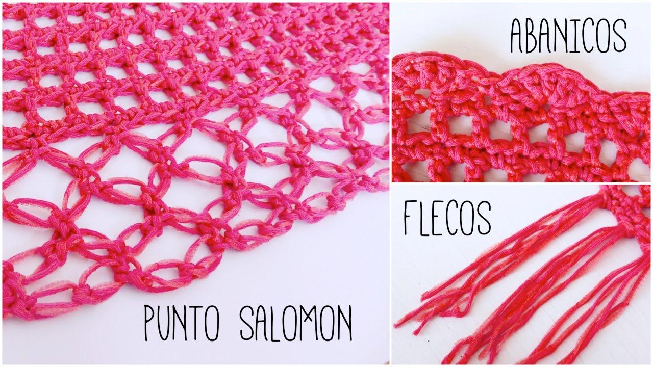 Bordes para CHAL a crochet: punto salomon, flecos y abanicos ...