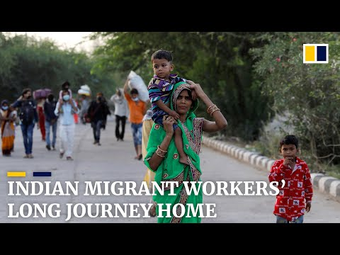 Indian migrant workers walk home amid coronavirus lockdown