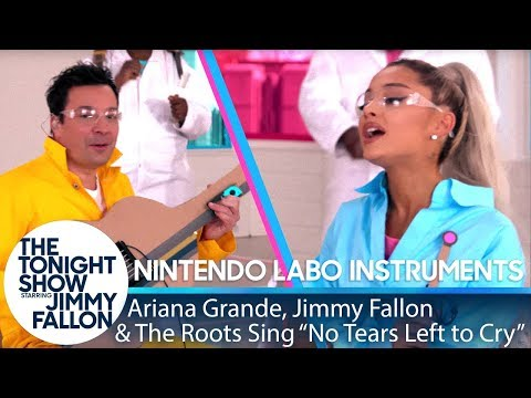Ariana Grande, Jimmy & The Roots Sing No Tears Left to Cry w Nintendo Labo Instruments