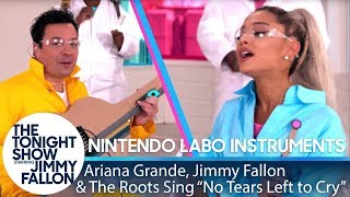 ariana grande jimmy the roots sing no tears left to cry w nintendo labo instruments