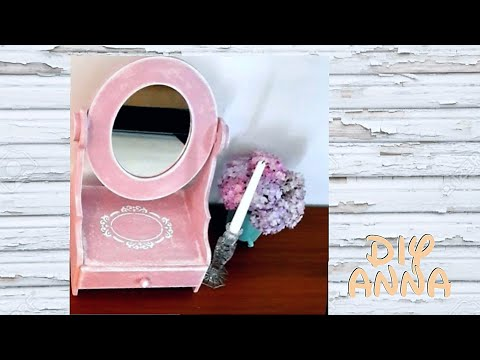 vintage mirror with makeup and jewelry box DIY shabby decoupage