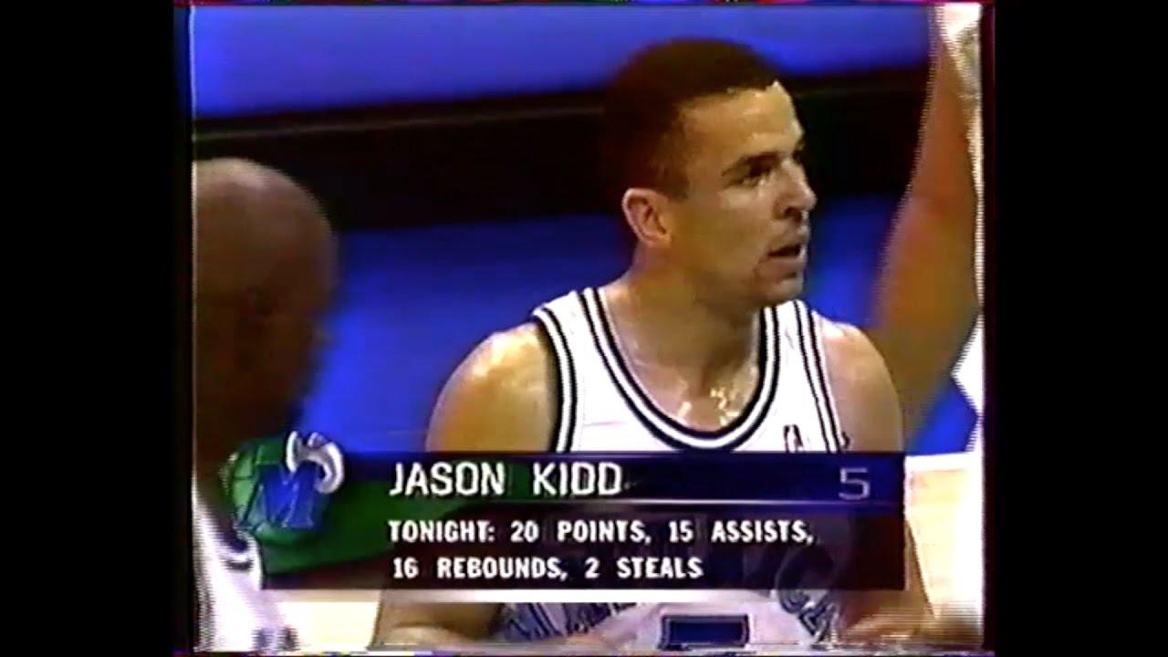 L A Clippers Dallas Jason Kidd triple double 21 16 16 1996