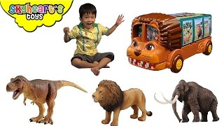 LION BUS with dinosaur and animal toys inside! Takara Tomy Animal Planet Safari Zoo toys for Kids
