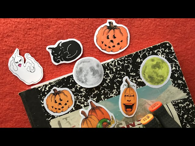 Making Halloween Printable Stickers - DIY Hand-colored Stickers