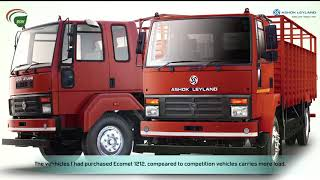 Testimonial of Ashok Leyland Ecomet in Motor Parts application