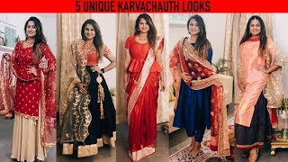 5 INDIAN 2018 #Karvachauth LOOKS | Karva Chauth Makeup #fashion #weddingbytes #guiltybytes