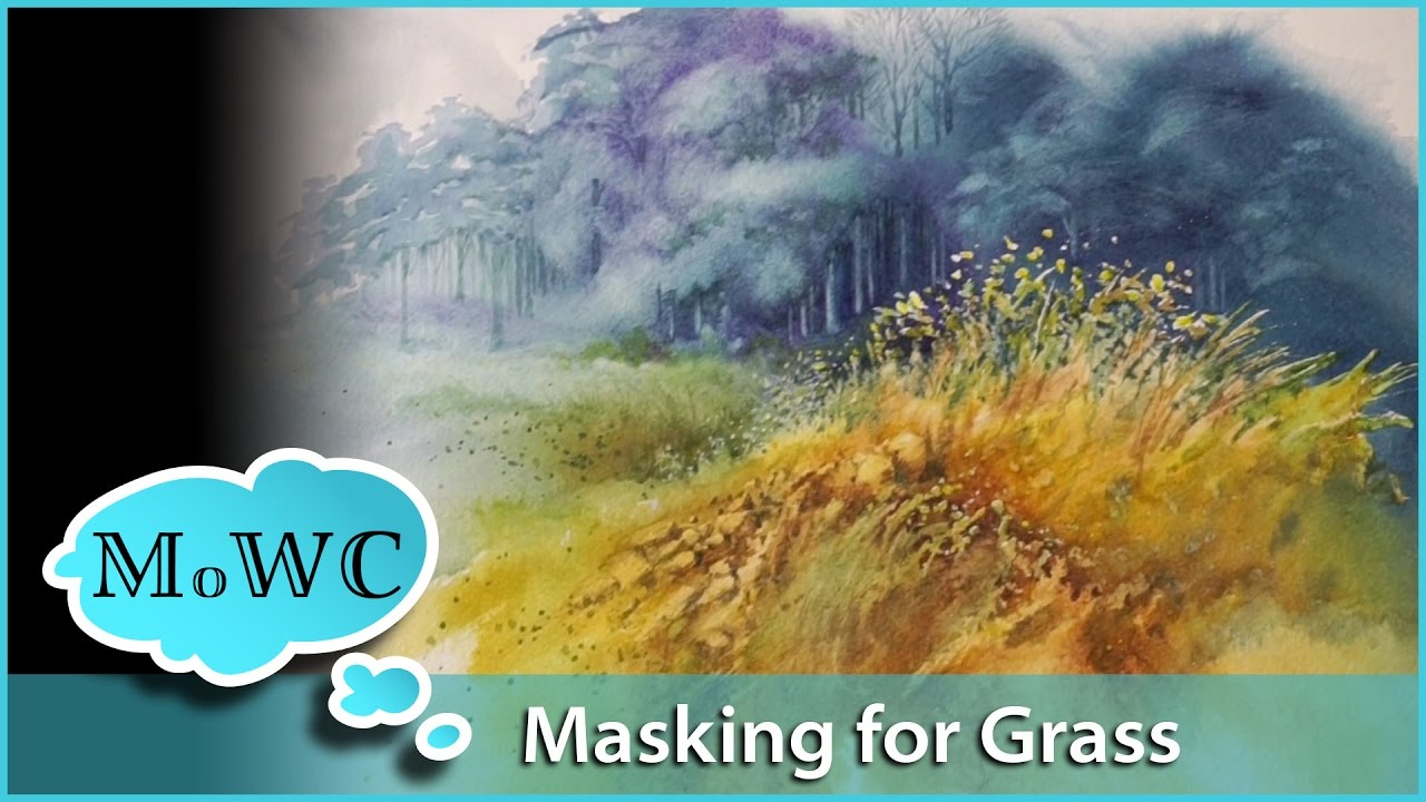 Painting A Grassy Field In Watercolor Masking Fluid