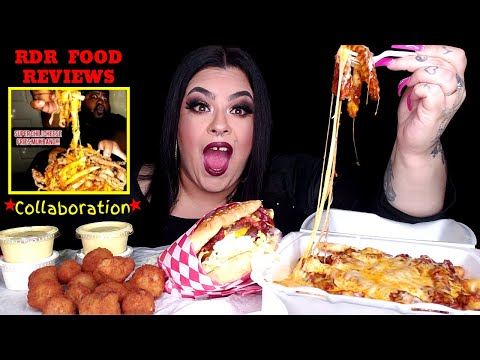 RDR FOOD REVIEWS Collab | Chili Cheese Fries + Double Burger | MUKBANG