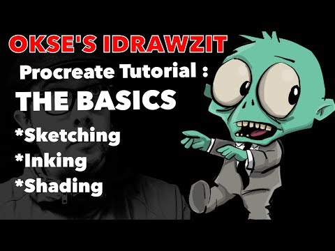 Procreate Tutorial : The Basics : sketching ,inking and colouring .
