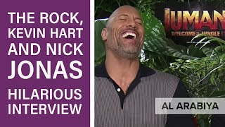 Jumanji's Dwayne 'The Rock' Johnson, Kevin Hart and Nick Jonas in hilarious interview