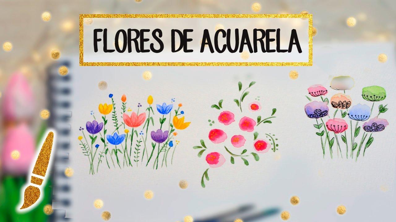 3 Flores De Acuarela Faciles En 2 Minutos A Dibujar 07 Youtube