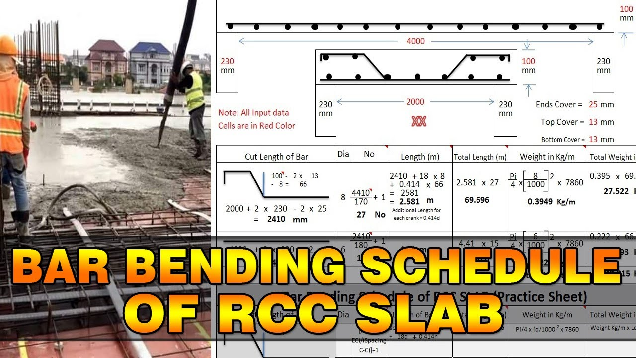 Bar Bending Schedule Of Slab Quantity Surveying And