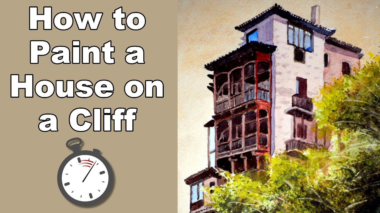 how to paint house on cliff edge in watercolor time lapse