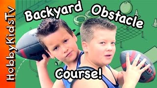 Fun Obstacle Course! Scotts Lawn Grass + Who Wins the Contest? HobbyKidsTV
