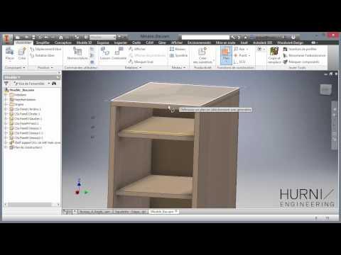Autodesk Inventor + Woodwork pour Inventor - Réalisation d'un petit meuble de bureau