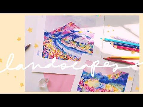 Landscapes - Watercolor + Colored Pencil