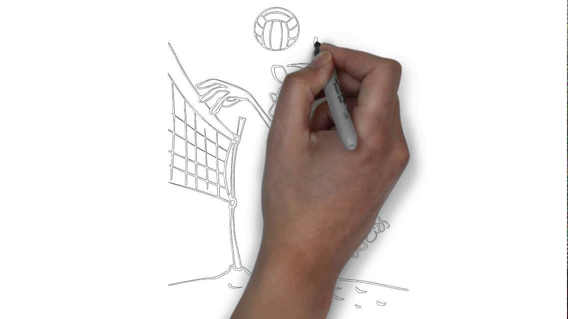 Cómo dibujar un jugador de voleibol de playa - YouTube