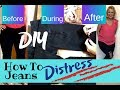 How to Distress Denim || DIY Destructed Jeans