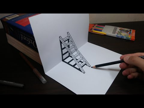 DIY 3D Ladder - How To Draw Ladder Optical Illusion-ASTUCES