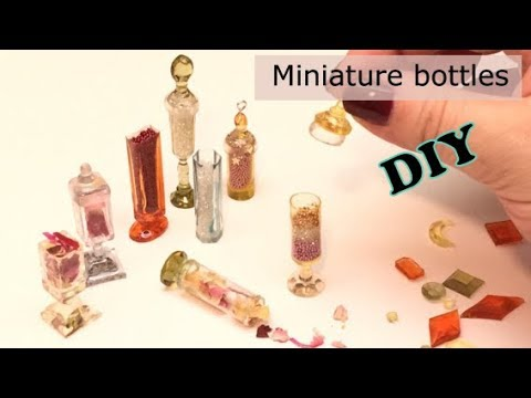 Miniature bottles and charms- Resin- DIY- tutorial