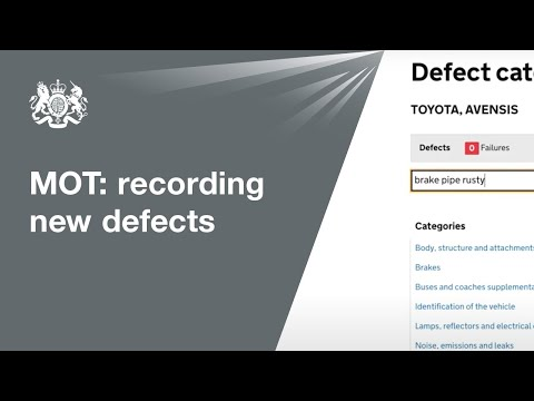 Identify and record the new defects on the MOT testing service: guidance for testers