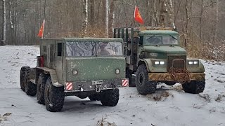 rc axial scx10 8x8 maz 537 and kraz 255 6x6 in the snow
