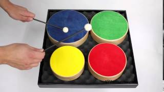 Set of 4 Colored Wooden Toms + 2 Beaters - 3+ video