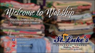 Sunday Worship - September 27th, 2020