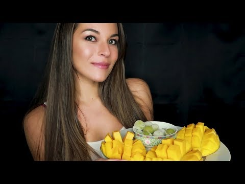 ASMR Mukbang - Eating juicy mangoes and grapes + soft spoken/whispered ramble