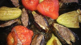 Ləvəngi badımcan, pomidor, bibər .