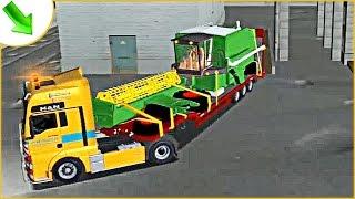 Перевозим комбайн на тягаче с низкорамным полуприцепом. Мультик про грузовик.