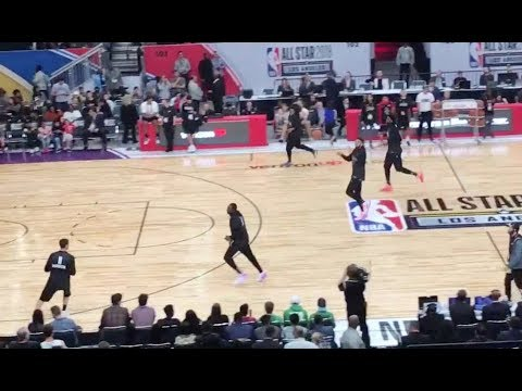 Team Stephen (with Embiid, Harden, Antetokounmpo & more) working on their drills & 3 point shooting