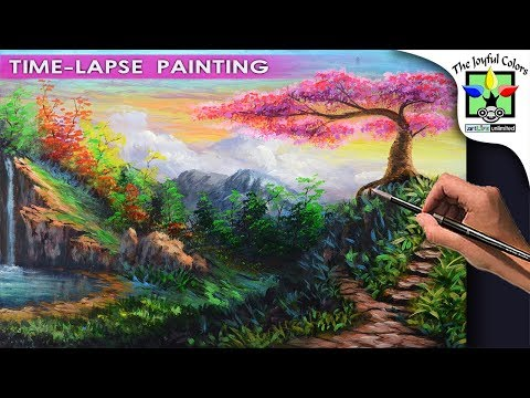 BASIC LANDSCAPE PAINTING Lesson Cherry Blossom with pathway stairs and water falls with autumn trees