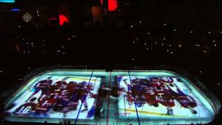 Montreal Canadiens Pre-Game Intro Game 3 vs Lightning - 2014/04/20(Awesome intro by the Montreal Canadiens with an on-ice projection during Game 3 vs the Tampa Bay Lightning in the first round of the playoffs., 2014-04-20T23:44:09.000Z)