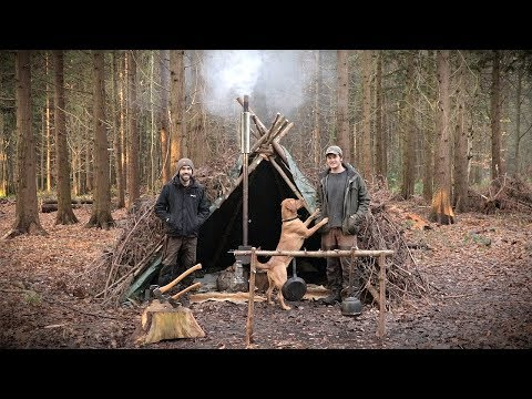 2 Day Bushcraft Camp in a Tipi Shelter - Woodstove, Deer Hides, Axe (Camp Craft)