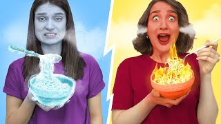 Eating Only Hot vs Cold Food Challenge!