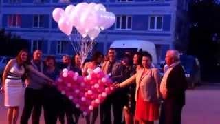 Запуск сердечка из шаров на свадьбе